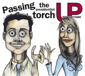 "An illustration of Student Body President Abe Cohen and SBP-Elect Tiffany Weimar. The original image featured Cohen handing off a partially-sculted clay owl, but was changed when it seemed a lot of people didn't ""get"" the owl. (Illustration by Adam Sheetz)"